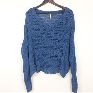 Free People Crochet Loose Knit Sweater